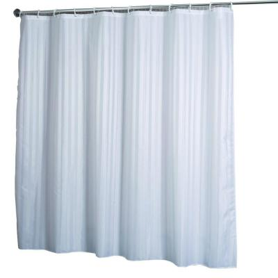 Shower Curtain in Woven Stripe White