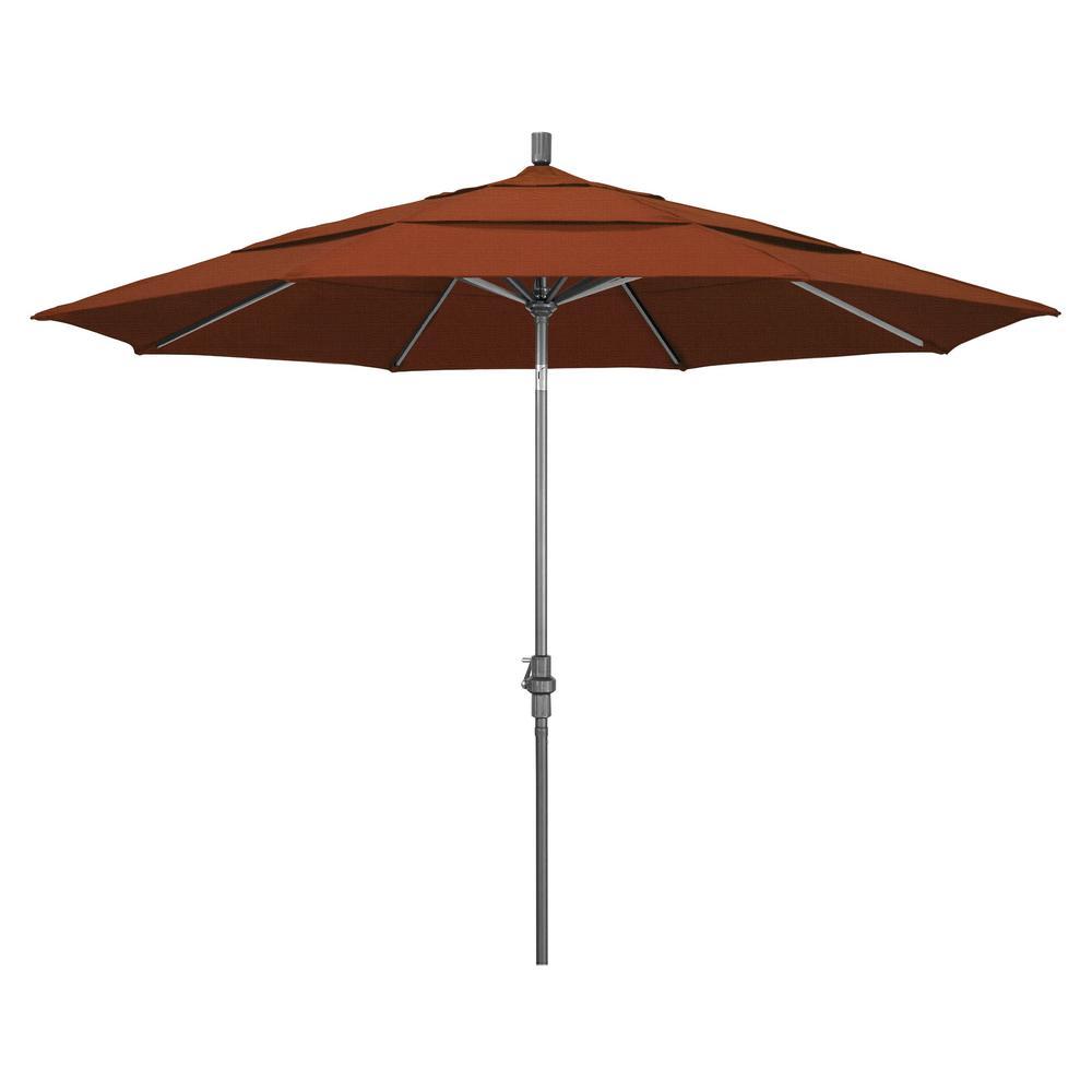 11 ft. Hammertone Grey Aluminum Market Patio Umbrella with Crank Lift in Terracotta Olefin