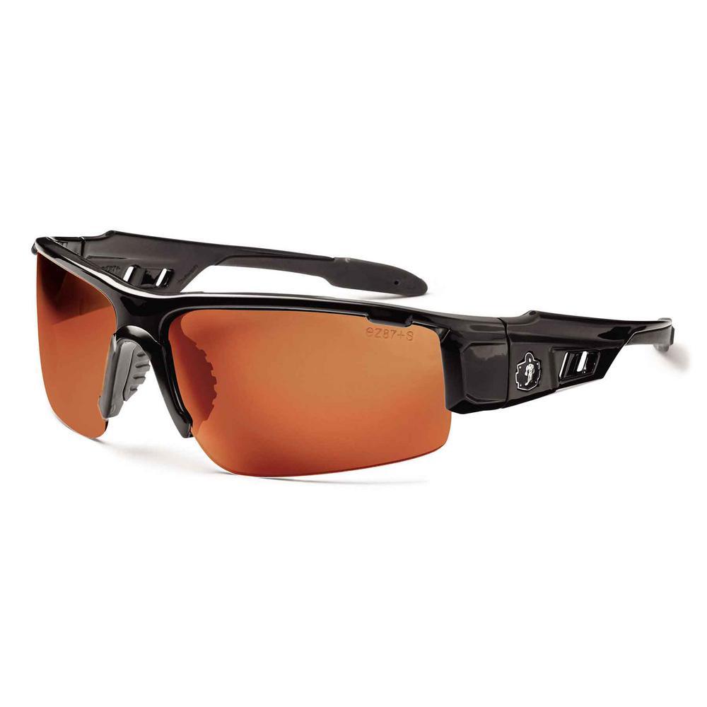 Skullerz Dagr Black Polarized Safety Glasses, Tinted Lens - ANSI Certified