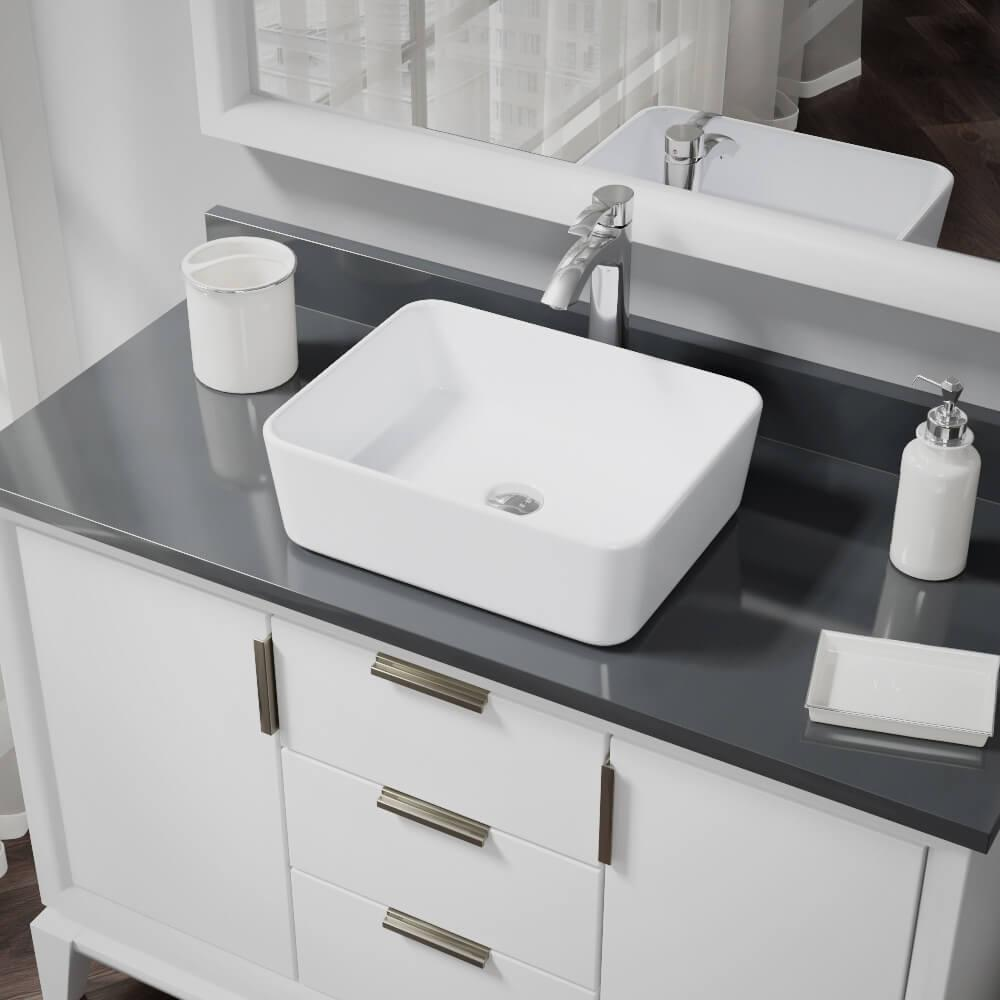 Rene Porcelain Vessel Sink in White with 7006 Faucet and Pop-Up Drain in Chrome