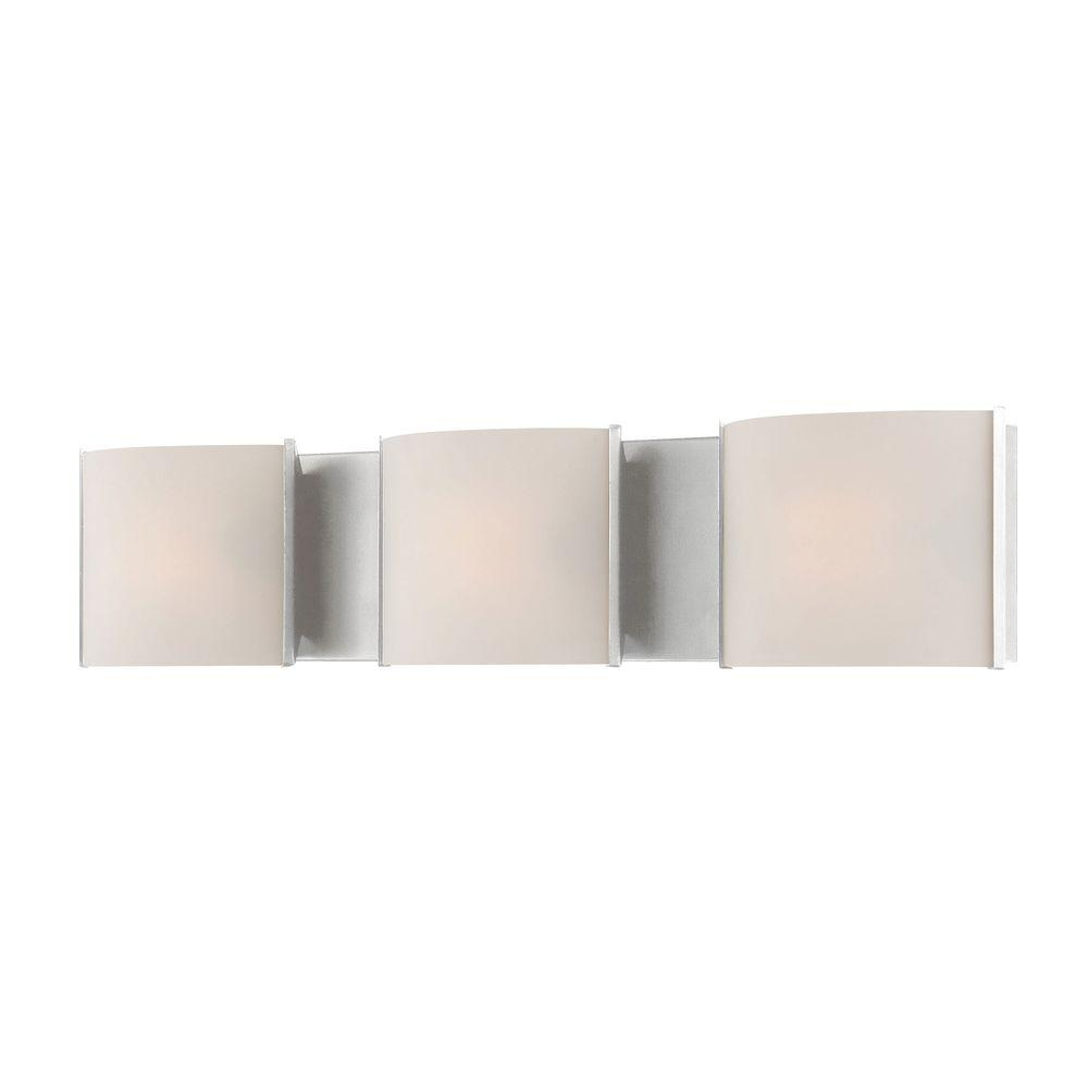 Pandora 3-Light Chrome Vanity Light with White Opal Glass