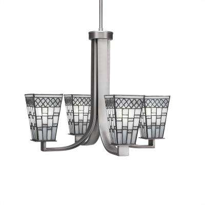 4-Light Graphite Chandelier with Pewter Glass Shade