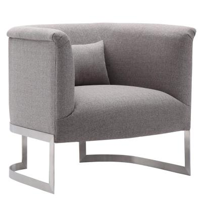 Holtz Brushed Stainless Steel with Grey Fabric Accent Chair