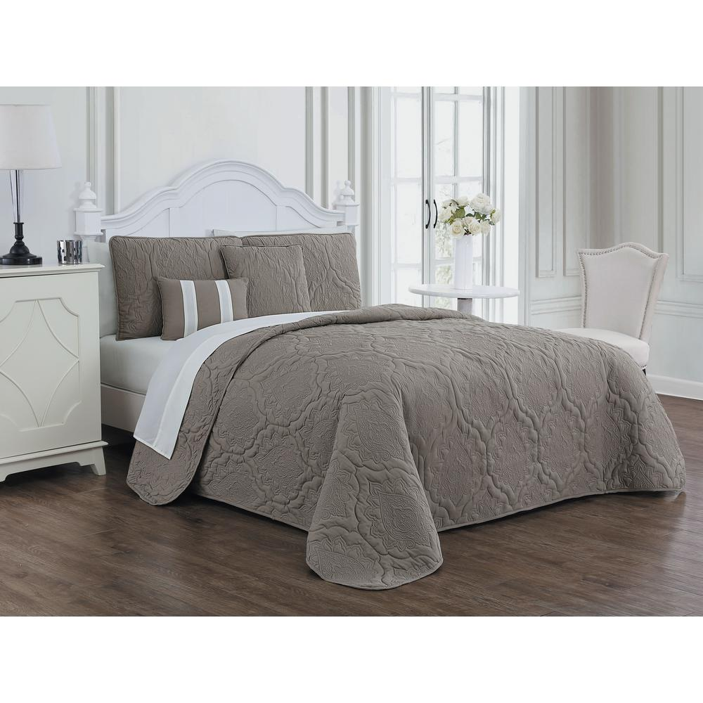 Avondale Manor Nolie 9 Piece Taupe Ivory King Quilt Set Nli9qtkingghti The Home Depot