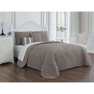 Nolie 9-Piece Taupe/Ivory King Quilt Set