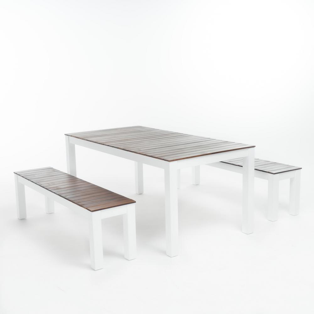Bali White 3-Piece Wood Rectangular Outdoor Dining Set