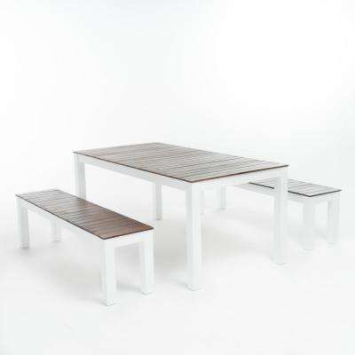 Bali White 3-Piece Wood Rectangular Outdoor Dining Set