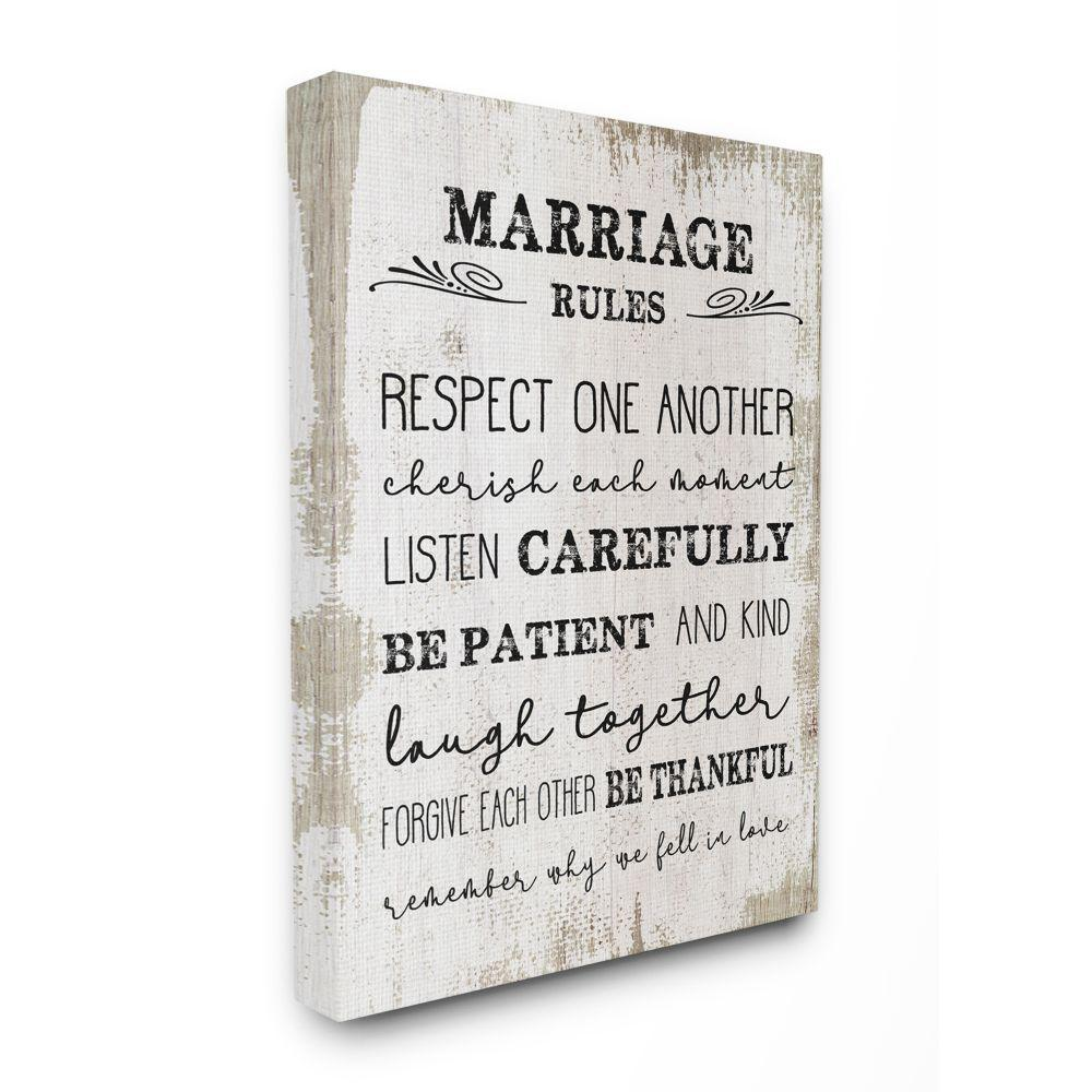 30 in. x 40 in. ''Marriage Rules Home Family Inspirational Word'' by Daphne Polselli Canvas Wall Art