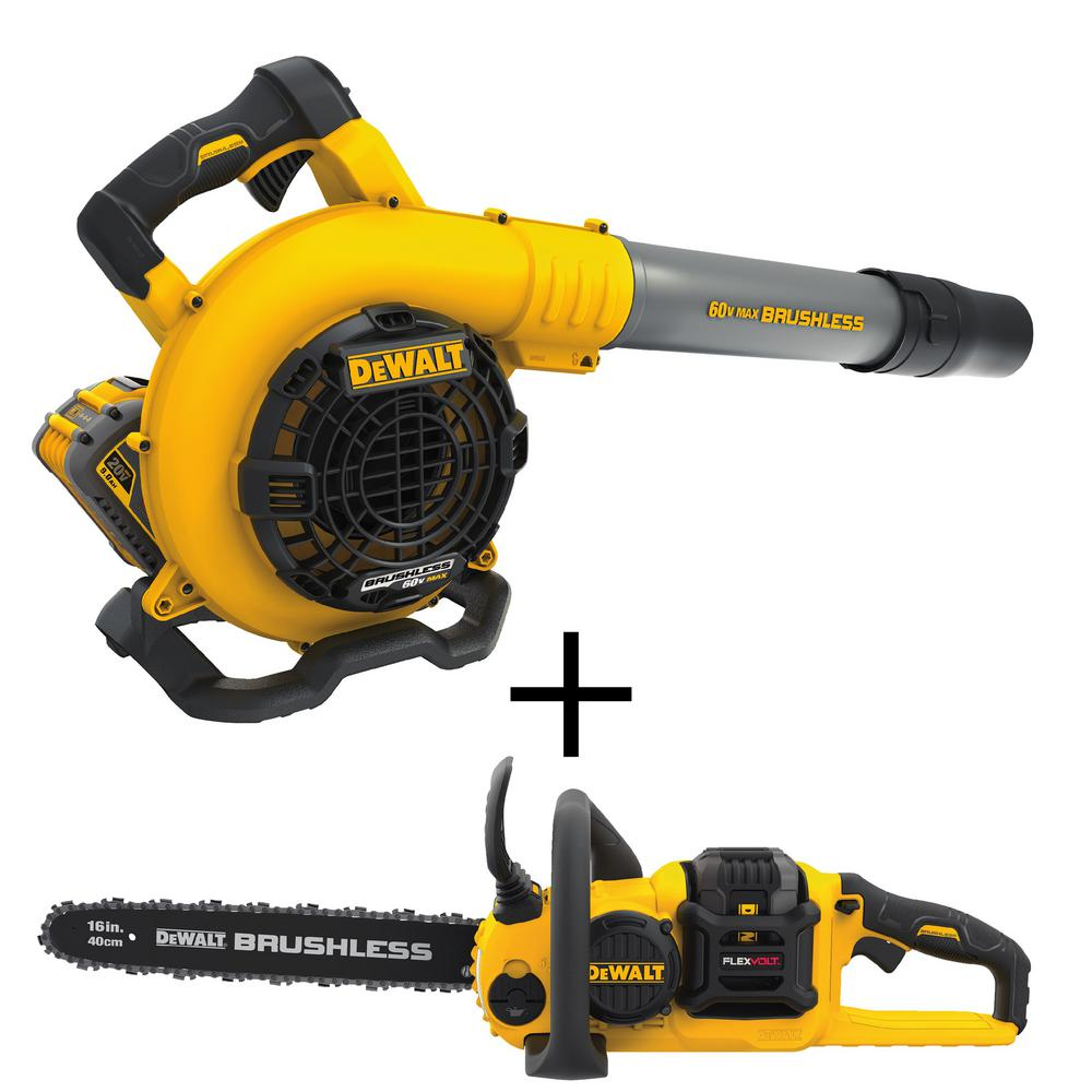 DEWALT 60-Volt MAX Lithium-Ion Cordless FLEXVOLT 129 MPH 423 CFM Handheld Leaf Blower with Bonus FLEXVOLT 16 in. Chain Saw