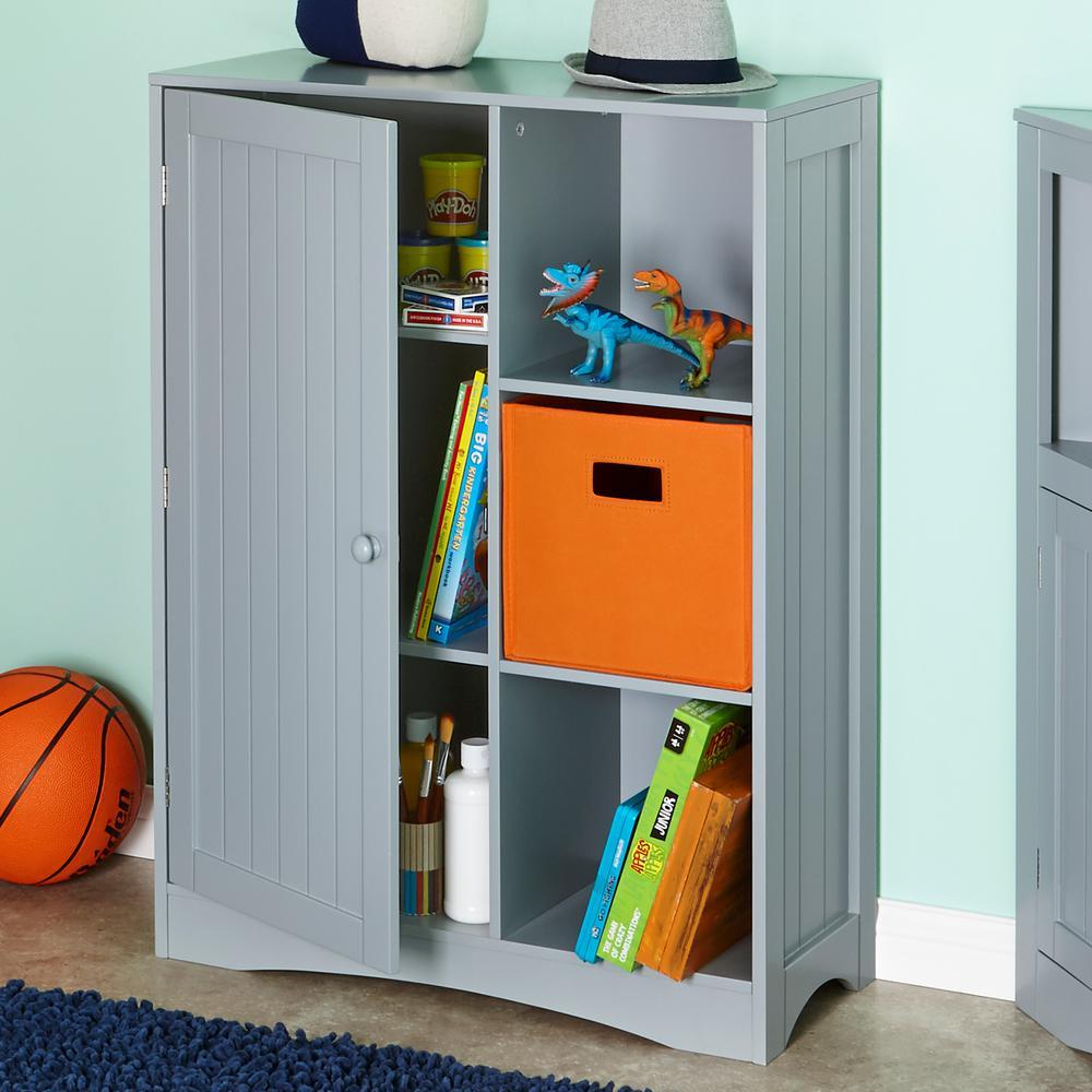 Single Door, 3 Cubby Floor Cabinet In Gray