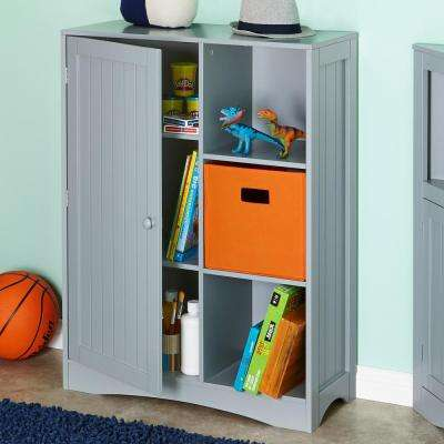 Single Door, 3-Cubby Floor Cabinet in Gray