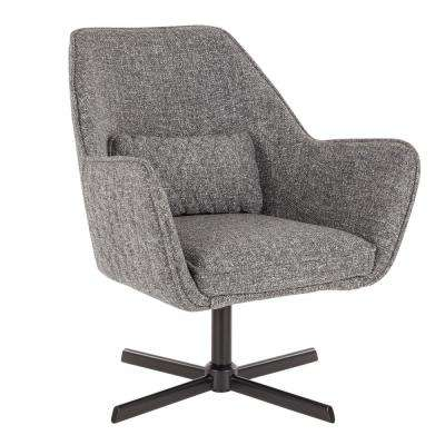 Diana Grey Noise Fabric and Black Metal Lounge Chair with Swivel
