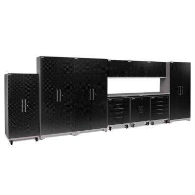 Performance Plus Diamond Plate 2.0 80 in. H x 225 in. W x 24 in. D Garage Cabinet Set in Black (11-Piece)
