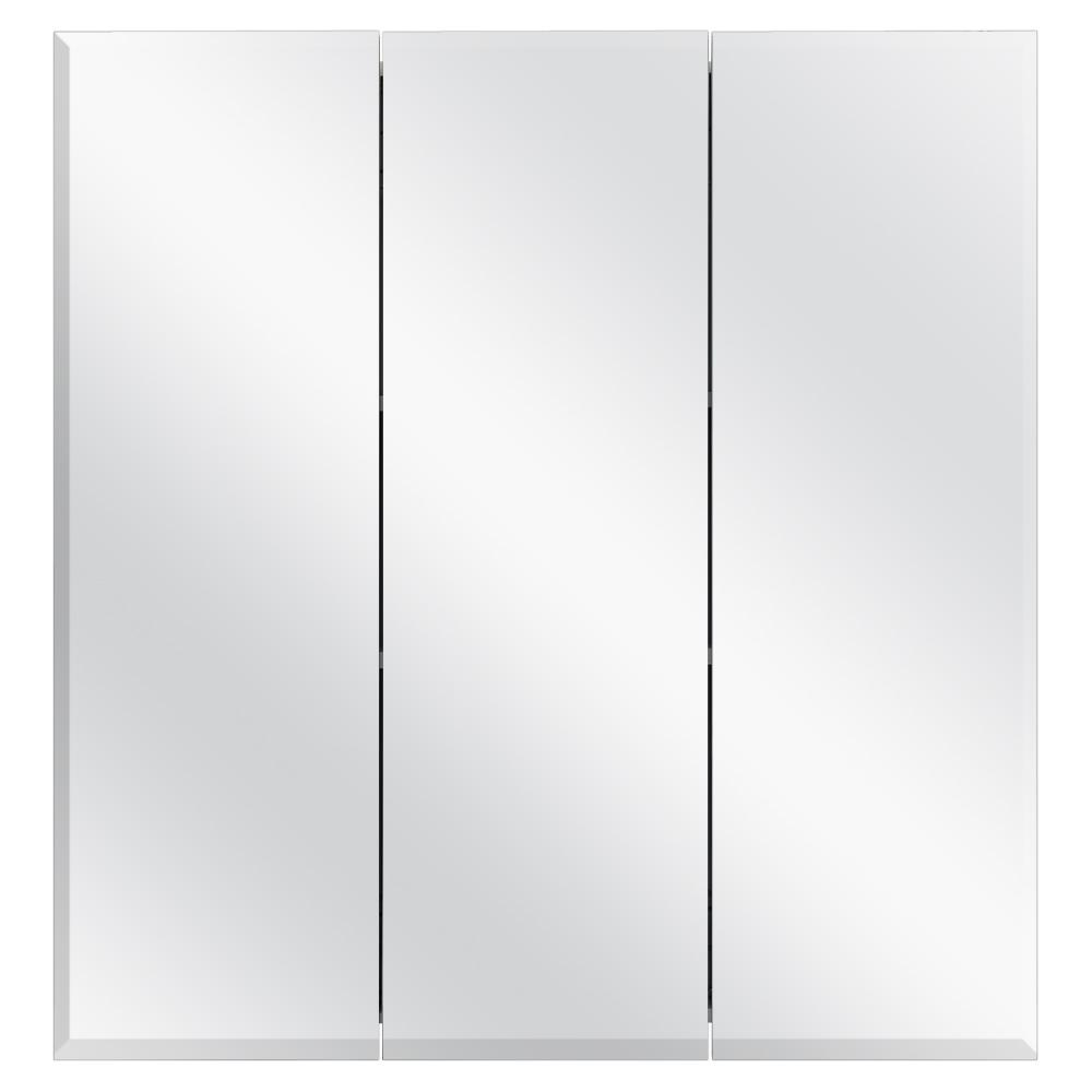 24-3/8 in. W x 25 in. H Frameless Surface-Mount Tri-View Bathroom