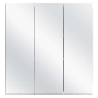 24-3/8 in. W x 25 in. H Frameless Surface-Mount Tri-View Bathroom Medicine Cabinet