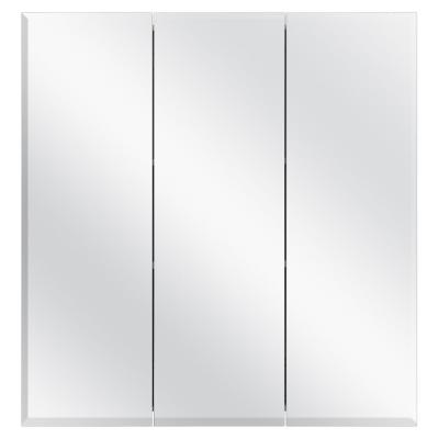24-3/8 in. W x 25-1/4 in. H Frameless Surface-Mount Tri-View Bathroom Medicine Cabinet