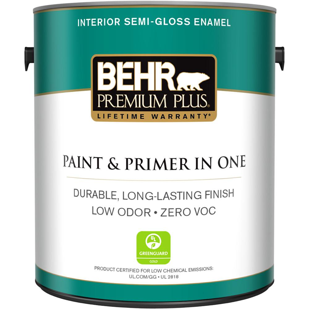 Behr Premium Plus 1 Gal Ultra Pure White Semi Gloss Enamel Zero Voc Interior Paint And Primer