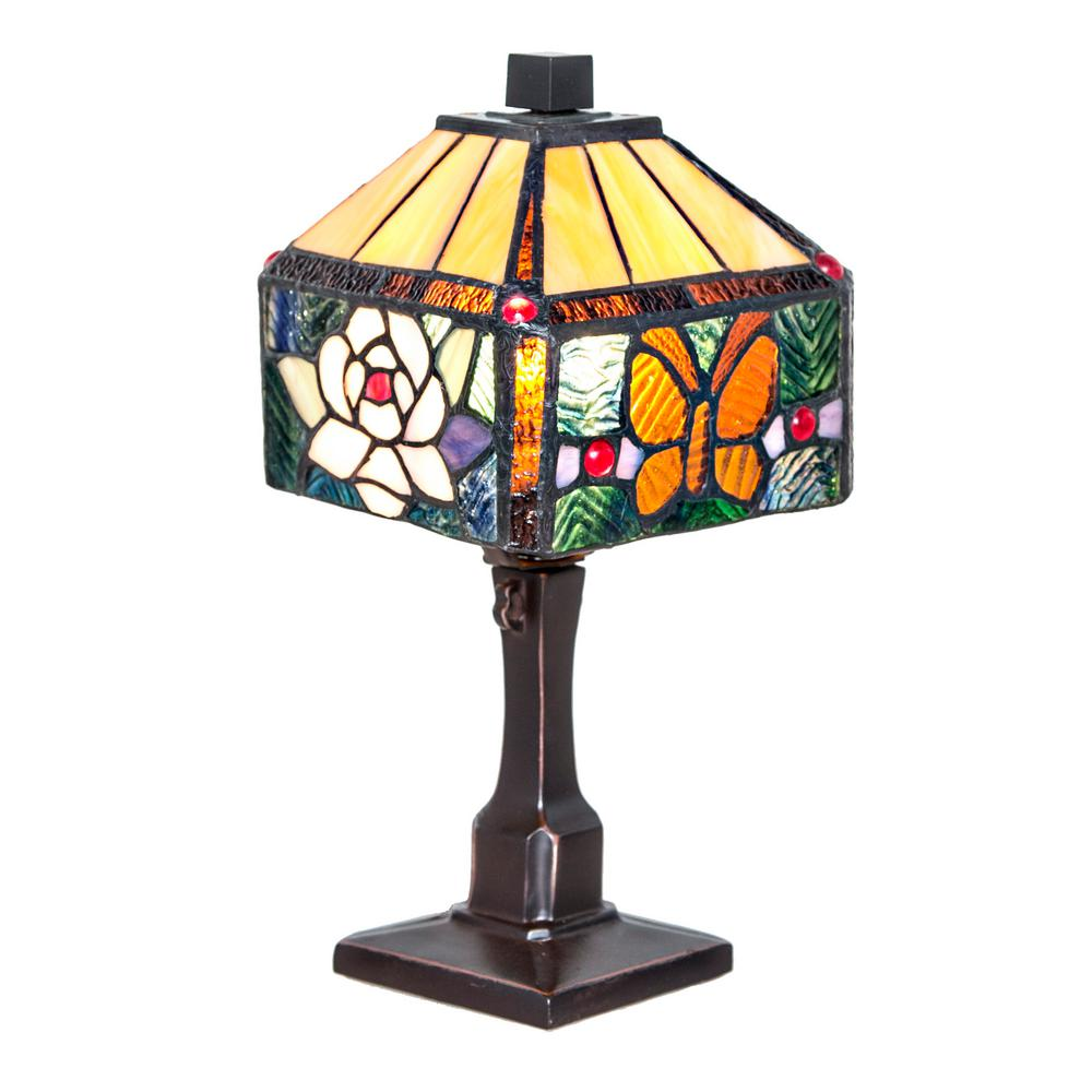 11.75 in. Multi-Colored Desk Lamp with Stained Glass Rose and Butterfly