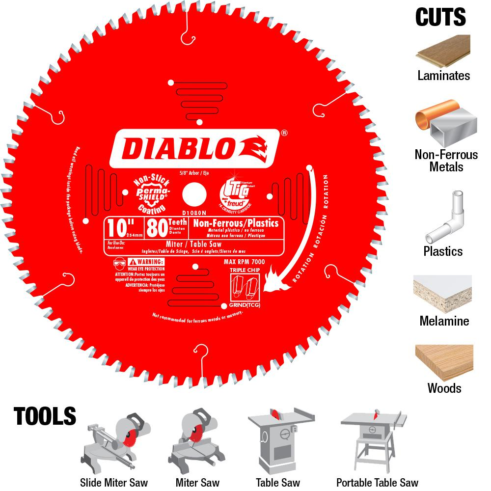 Diablo 10 In X 80 Teeth Non Ferrous Plastic Cutting Saw Blade