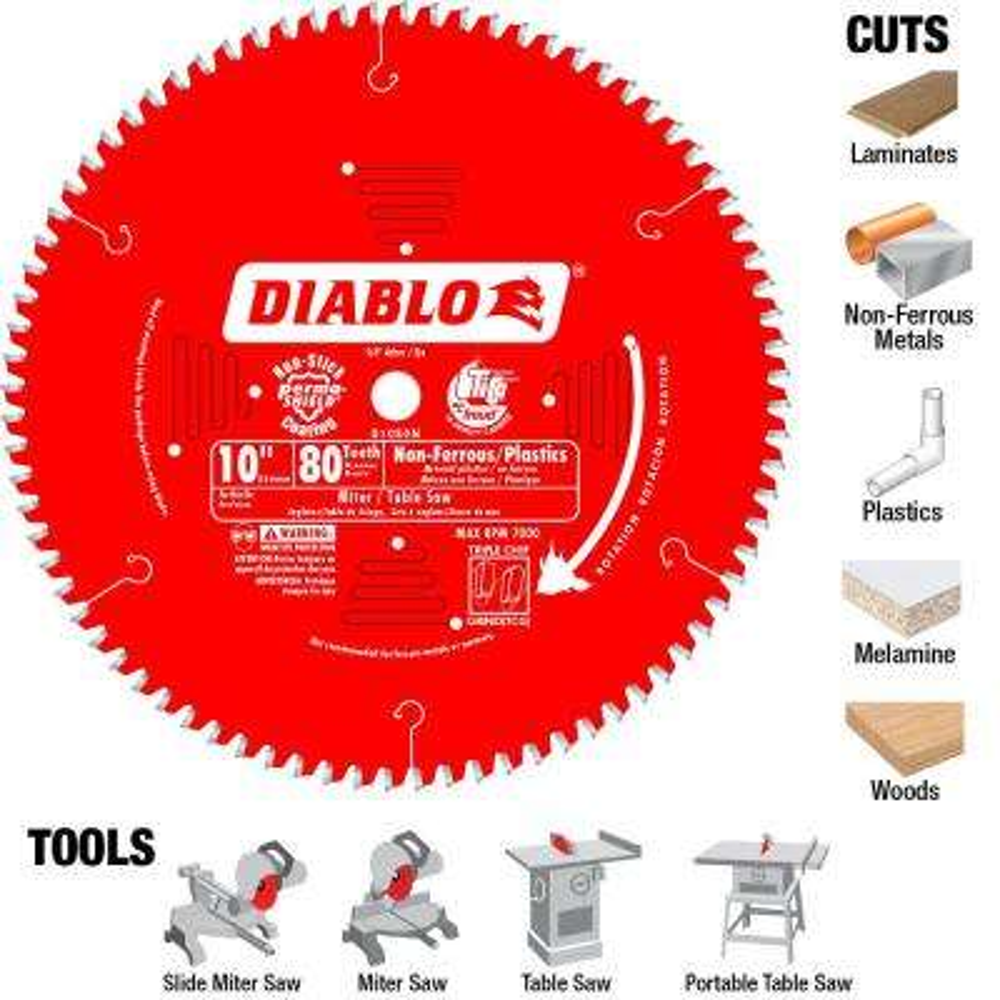 10 in. x 80-Teeth Non-Ferrous / Plastic Cutting Saw Blade