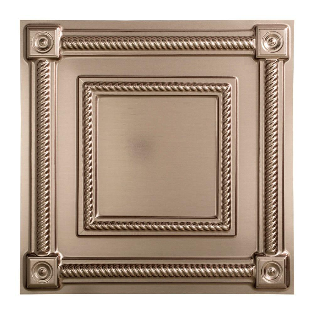 Fasade Coffer - 2 ft. x 2 ft. Lay-in Ceiling Tile in Brushed Nickel