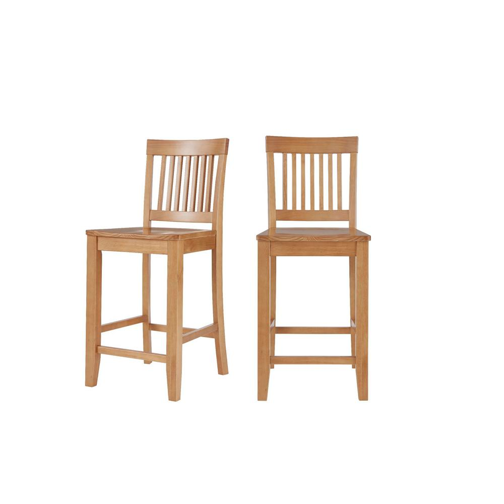 StyleWell Scottsbury Honey Brown Wood Counter Stool with Slat Back (Set of 2) (19.14 in. W x 38.59 in. H) was $169.0 now $101.4 (40.0% off)
