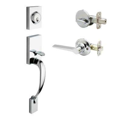 Craftsman Polished Stainless Door Handleset with Contemporary Lever Trim