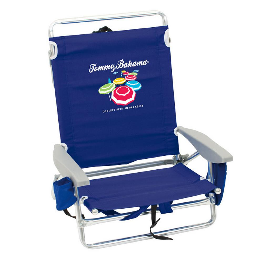 Tommy Bahama Navy Blue Aluminum And Fabric 5 Position Lay Flat Backpack Beach Chair