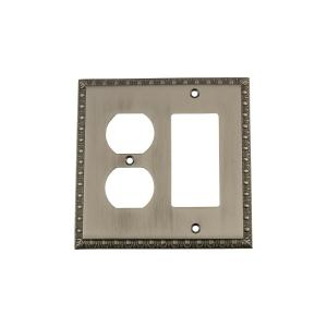 Nostalgic Warehouse Egg and Dart Switch Plate with Rocker and Outlet in Antique... by Nostalgic Warehouse