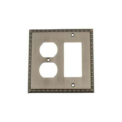 Egg and Dart Switch Plate with Rocker and Outlet in Antique Pewter