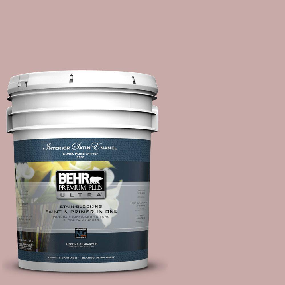 5-gal. #130E-3 Rosy Tan Satin Enamel Interior Paint