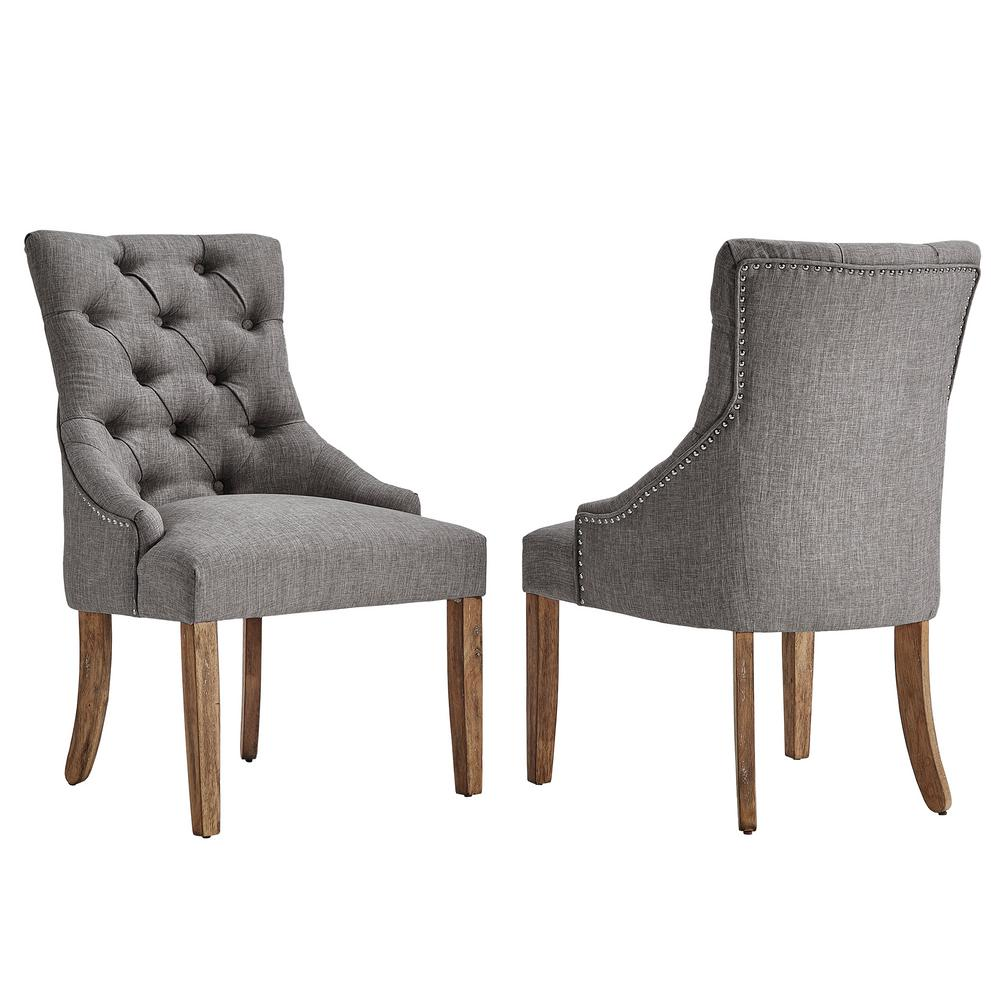 Homesullivan marjorie grey linen button tufted dining chair set of 2