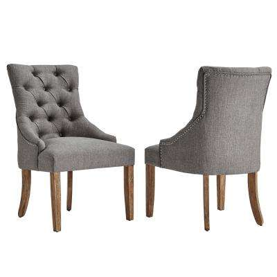 Marjorie Grey Linen Button Tufted Dining Chair (Set of 2)