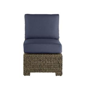 Laguna Point Brown Wicker Armless Middle Outdoor Patio Sectional Chair with CushionGuard Midnight Navy Blue Cushions