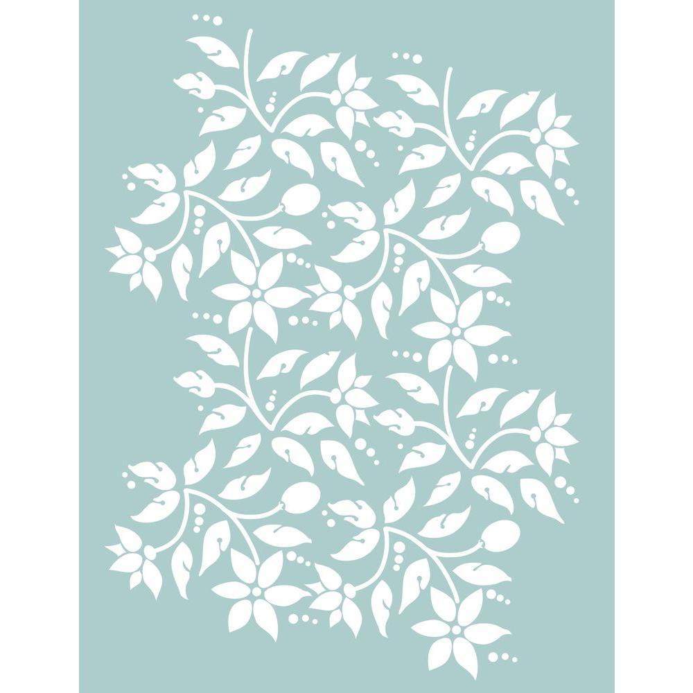 8.5 x 11 in. Jacobean Floral Stencil