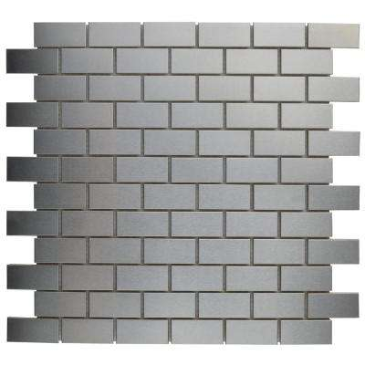 Alloy Subway 11-3/4 in. x 11-3/4 in. x 8 mm Stainless Steel Metal Over Porcelain Mosaic Tile