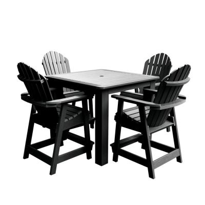 Hamilton Black 5-Piece Recycled Plastic Square Outdoor Balcony Height Dining Set