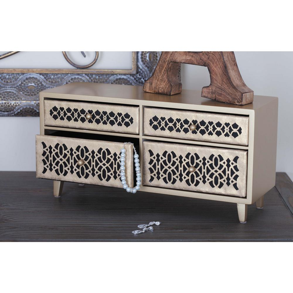 15 in. x 7 in. 4-Drawer Wooden Gold Lattice Jewelry Box