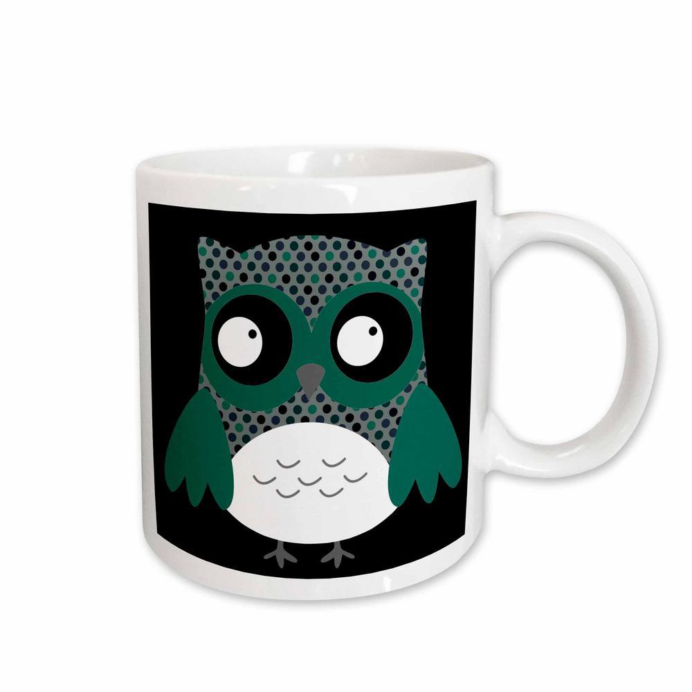 aea4625a65eb Anne Marie Baugh Owls Cute Deep Blue and Green Polka Dots Owl 11 oz. White  Ceramic Coffee Mug