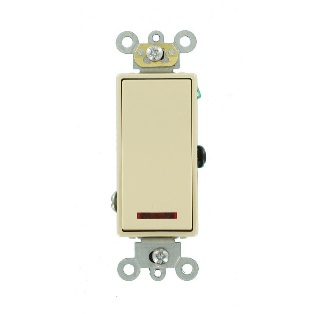Leviton 1755 W Light Switch Decora Three Rocker Combo Cooper Wiring Quiet Toggle Single Pole Lighted 15 A 120 V Ivory 5628 2i 20 Amp Vac Self