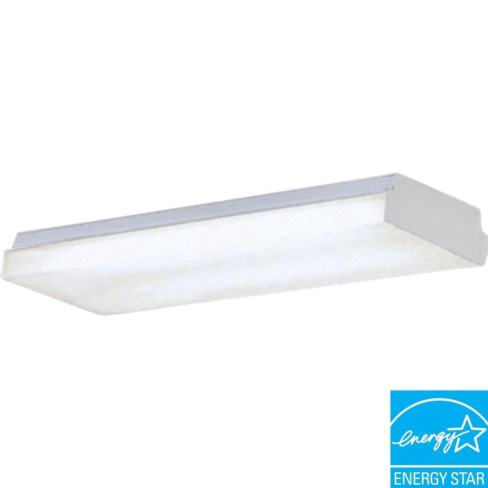 Fluorescent Light Bulbs Home Depot: Progress Lighting 2-Light White Fluorescent Fixture-P7183