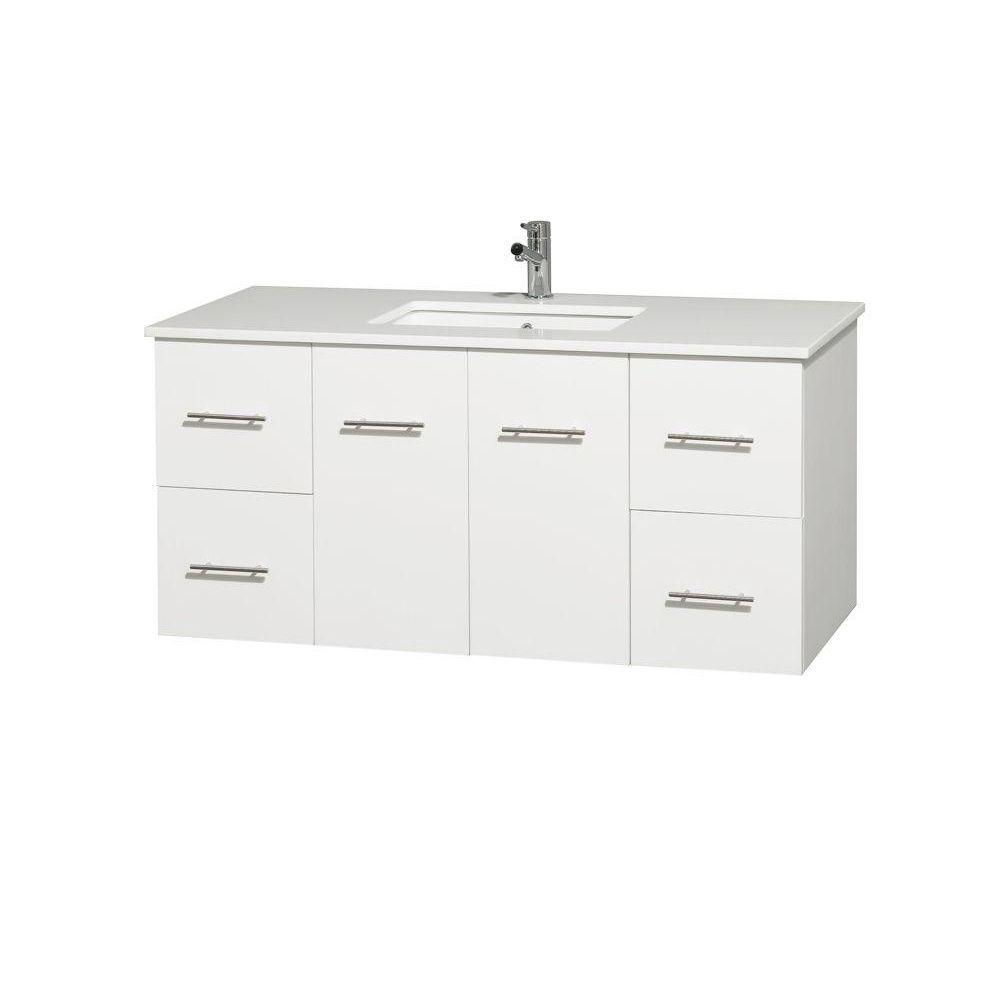 Wyndham Collection Centra 48 in. Vanity in White with Solid-Surface Vanity Top in White and Undermount Sink