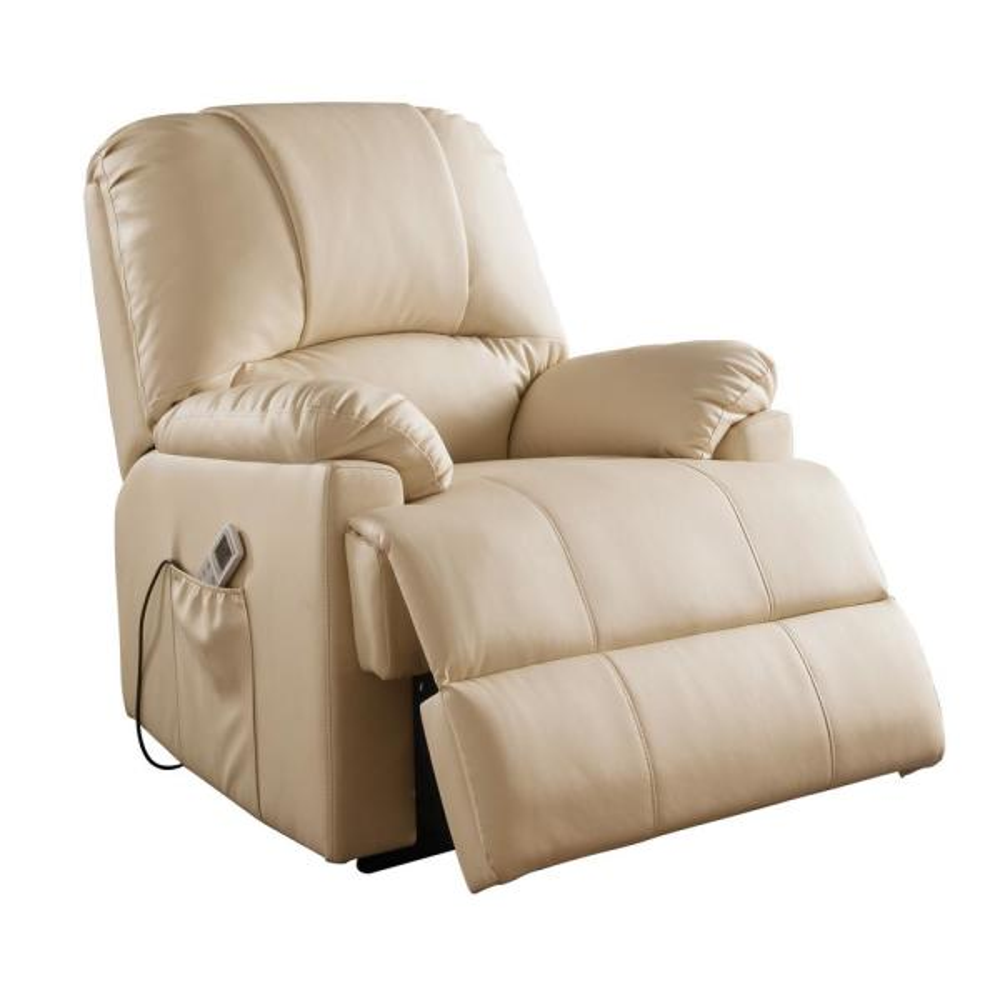 Acme Furniture Ixora Beige Leatherette Power Lift Massage Recliner 59286