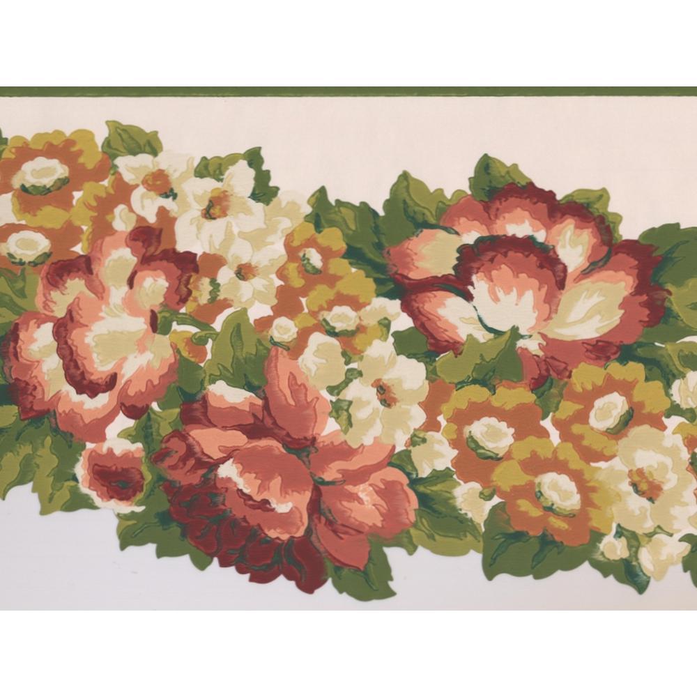 Vintage Pink White Orange Abstract Flowers Prepasted Wallpaper Border