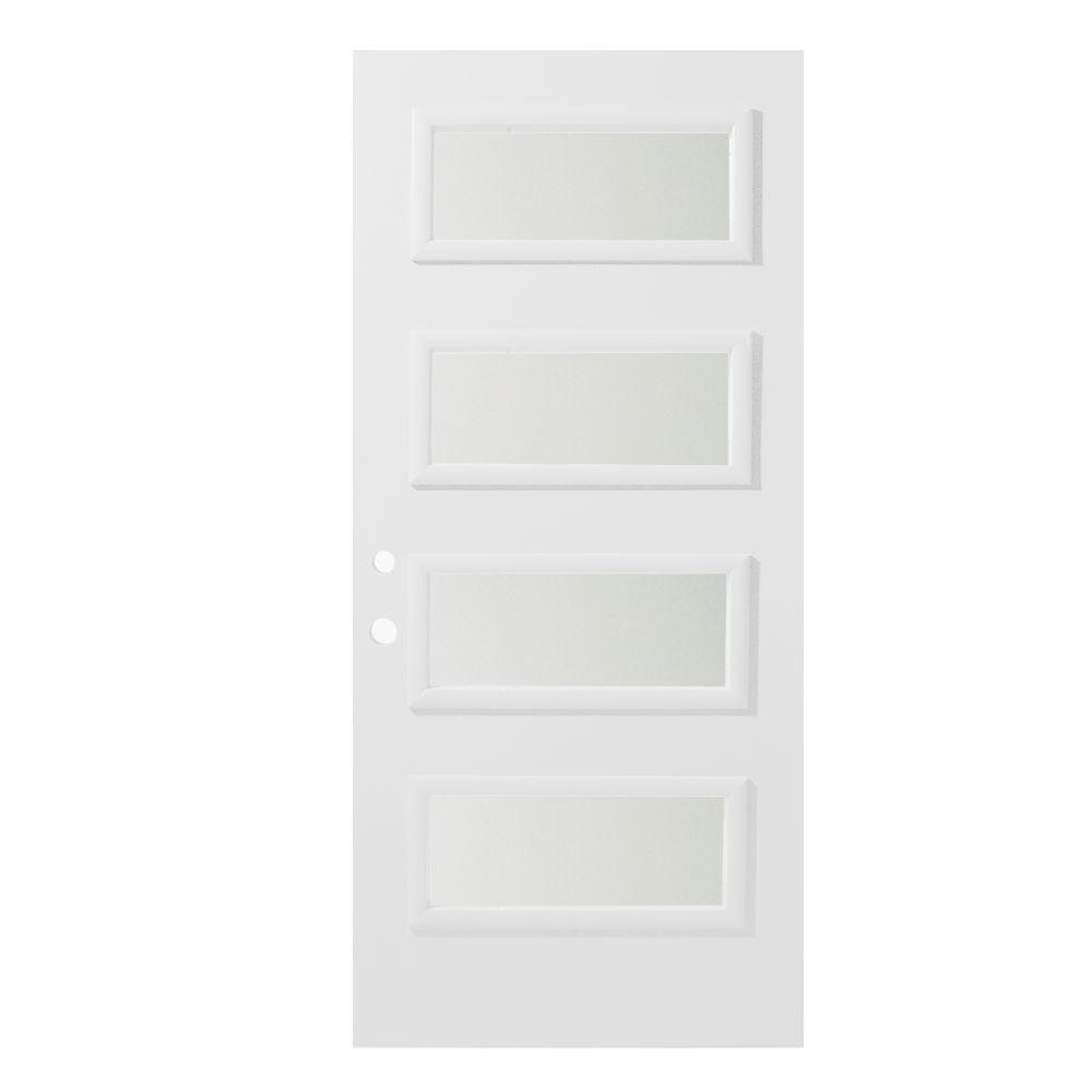 36 in. x 80 in. Lorraine Satin Opaque 4 Lite Painted