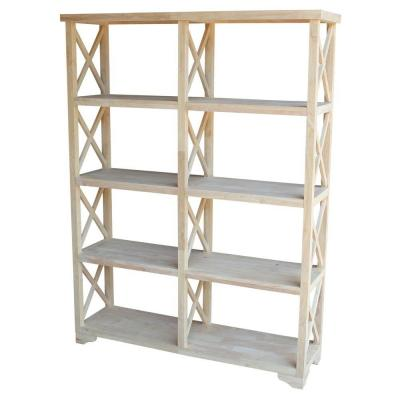 71.9 in. Unfinished Wood Wood 8-shelf Etagere Bookcase with Adjustable Shelves