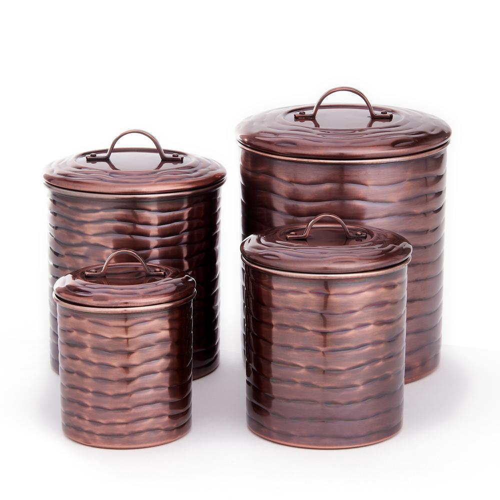 4 Qt., 2 Qt., 1-1/2 Qt., 1 Qt. 4-Piece Antique Copper Wave Canister Set