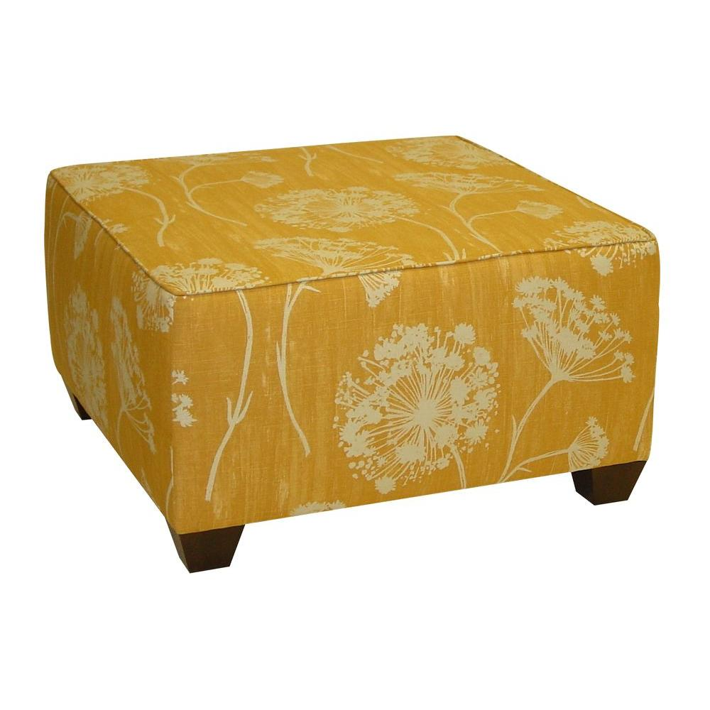 Home Decorators Collection Square Cocktail Ottoman in Lace Butterscotch