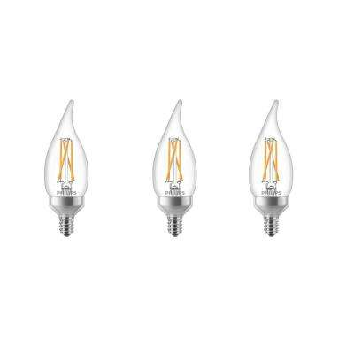 2700K 60-Watt Equivalent Soft White BA11 Bent Tip E12 Dimmable Warm Glow Dimming Effect LED Candle Light Bulb (3-Pack)