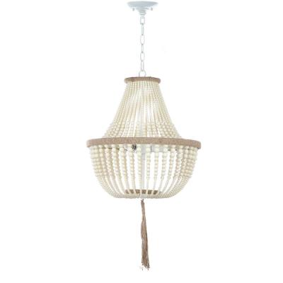 Lush Kristi 3-Light Cream Beaded Pendant